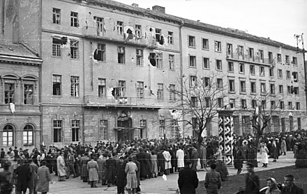 Damaged Party headquarters on Köztársaság tér