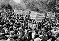 ILGWU members carry placards supporting George McGovern and Sargent Shriver at a campaign rally, October 15, 1972. (5278915843).jpg