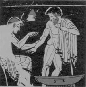 Bloodletting - Ancient Greek painting on a vase, showing a physician (iatros) bleeding a patient