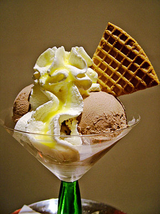 Ice cream - A cocktail glass of ice cream, with whipped cream and a wafer