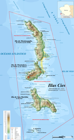 Cíes Islands - Location and topographic map of the Cíes Islands