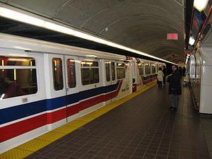 Burrard station - A train arriving at Burrard's eastbound platform