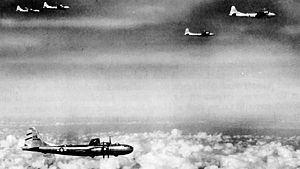Twentieth Air Force - B-29s of the 58th Bomb Wing on a mission to Rangoon, Burma, 1944
