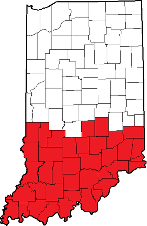 Area codes 812 and 930 - Image: Indiana (812)