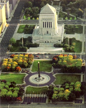 Indiana World War Memorial Plaza - Aerial view of the plaza looking south