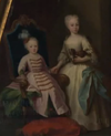 Painting showing a young boy seated (Prince Pedro) with an older girl by his side (Barbara of Braganza)