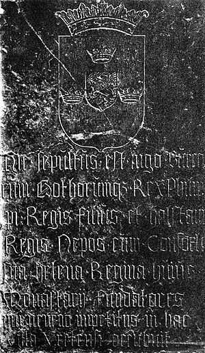 Inge the Younger - 16th century gravestone to King Inge the Younger at Vreta Abbey, with some inaccurate information on it, though probably placed correctly over his and King Philip's bones near the church's altar.