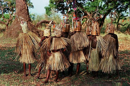 9- to 10-year-old boys of the Yao tribe participating in circumcision and initiation rites. Initiation ritual of boys in Malawi.jpg