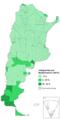 Inmigrantes en Argentina por departamento - censo 2010.png