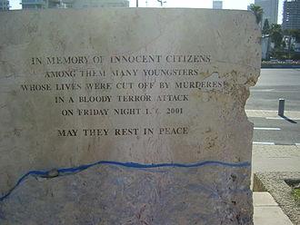 Dolphinarium discotheque massacre - English inscription on the back of the dolphinarium massacre memorial