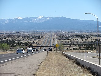 Interstate 25 in New Mexico - Image: Interstate 25 approaching Santa Fe New Mexico