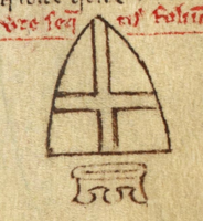 Inverted arms of Jerusalem referring to the death of Fulk, king of Jerusalem.png