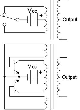 Power inverter wikipedia top simple inverter circuit shown with an electromechanical switch and automatic equivalent auto switching device implemented with two transistors and cheapraybanclubmaster Gallery