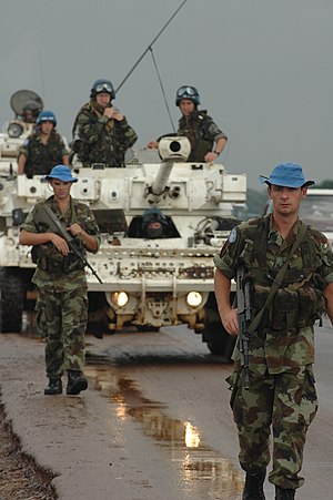 Peacekeeping - Irish UNMIL troops on patrol in Liberia, July 2006.