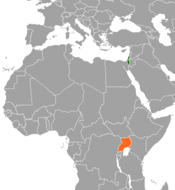 Map indicating locations of Israel and Uganda