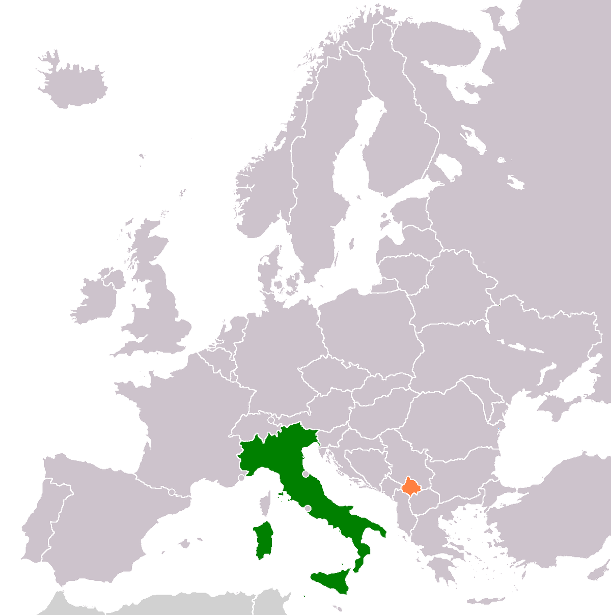Map Of Europe With Italy Highlighted.Italy Kosovo Relations Wikipedia