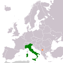 Map indicating locations of Italy and Kosovo