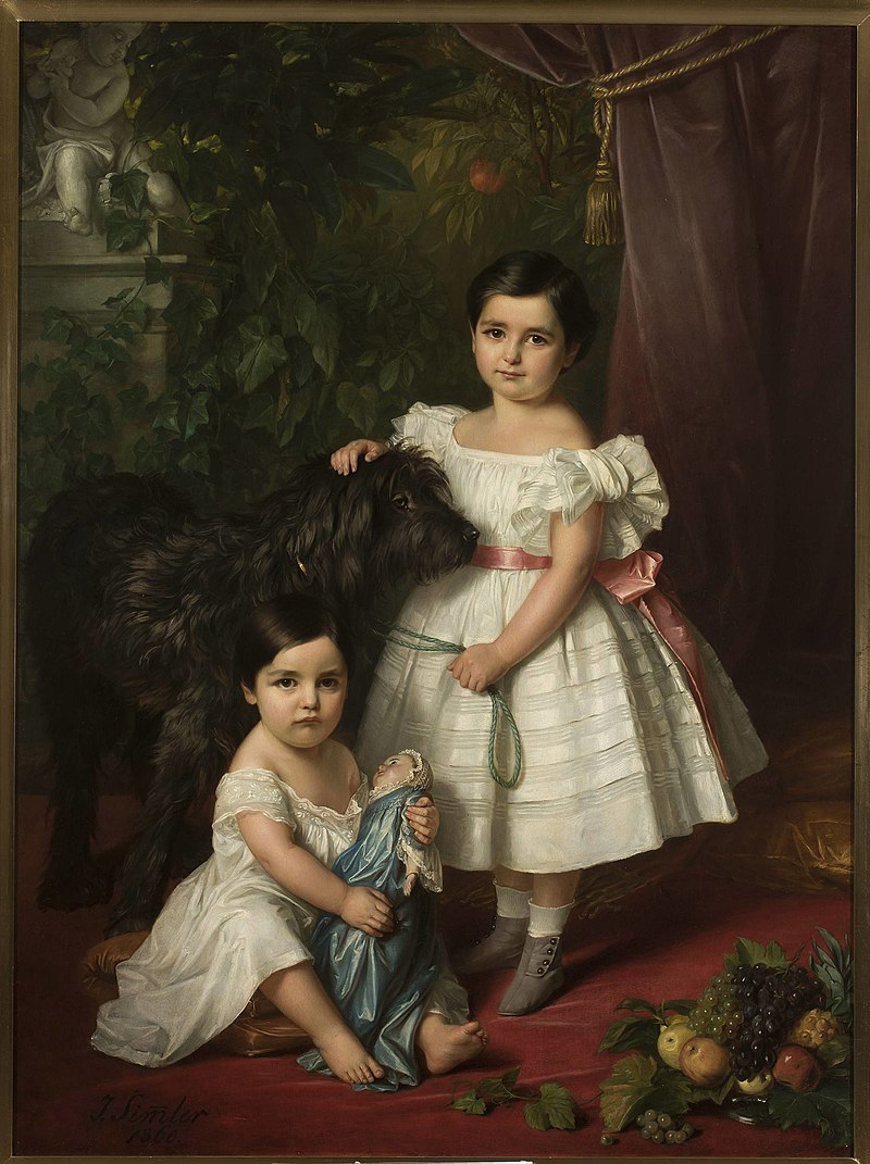 Józef Simmler - Portrait of Maria Róża Kronenberg and Róża Maria Karolina Kronenberg with a dog - MP 278 - National Museum in Warsaw.jpg