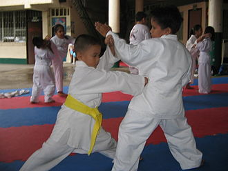 Punch (combat) - A karateka performing a 'reverse punch' or gyaku zuki being performed by two young boys.