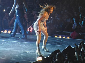 """I'm Into You - Lopez performing """"I'm Into You"""" on her 2012 Dance Again World Tour."""