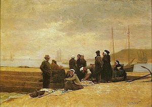 Jacques-Eugène Feyen - Women and fishermen waiting for the boat (ca. 1860), by Eugène Feyen. Itamaraty Palace, Rio de Janeiro.