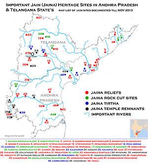 Nellore district - Image: Jain Heritage sites map of Andhra Pradesh