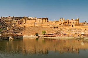 Front view of Amber Fort from the road