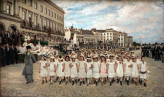 Paul Saintenoy - Image: Jan Verhas The parade of the schools of 1878 in the presence of King Leopold II