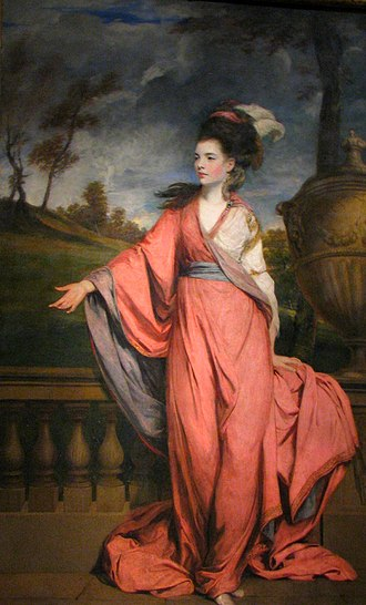 Grand manner - Jane, Countess of Harrington by Joshua Reynolds, 1778, the Grand manner transferred to portraiture.