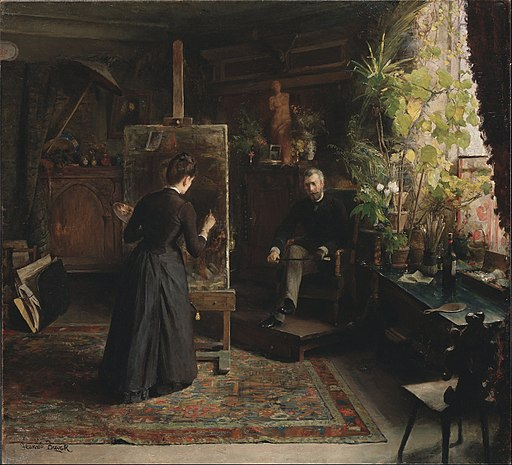 Jeanna Bauck - The Danish Artist Bertha Wegmann Painting a Portrait - Google Art Project