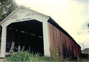 National Register of Historic Places listings in Indiana - Jeffries Ford Covered Bridge, destroyed by fire in 2002 but still NRHP-listed, in Parke County