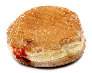 English: A jelly donut that was bought at Dunk...
