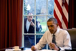 Jerry Seinfeld knocks on the Oval Office window.jpg