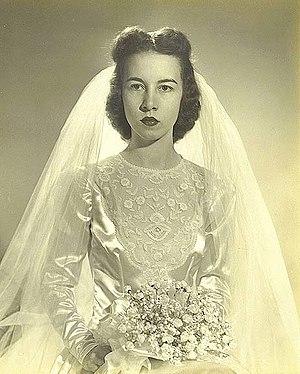 James C. Gardner - Gardner's first wife, the former Mary Ella  Buchanan, in her wedding  dress, October 14, 1944, in Aberdeen, Maryland