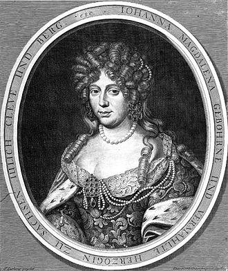 Johanna Magdalena of Saxe-Altenburg - Johanna Magdalena of Saxe-Altenburg, copper engraving by Johann Hainzelmann, in the Kupferstichkabinett in Dresden (item A 26876 in A 288ab, 4 (D XVI-XVIII))