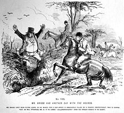 "Punch magazine's ""Mr. Briggs"" cartoons illustrated issues over fox hunting during the 1850s."