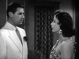 John Hodiak and Hedy Lamarr in A Lady Without Passport trailer.JPG