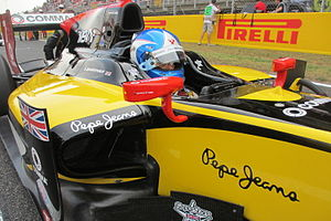Jolyon Palmer - Palmer on the grid in his DAMS car at Barcelona in 2014