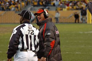 Jon Gruden - Gruden speaking to an official at Heinz Field in December 2006