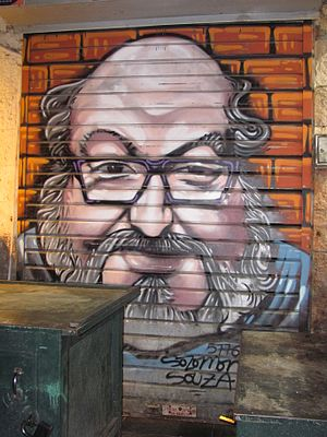 Jonathan Pollard - Spray-paint portrait of Pollard at the Mahane Yehuda Market, Jerusalem