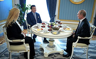 Joseph Kobzon - Vladimir Putin congratulated Iosif Kobzon on his 80th birthday. Left: Ninel Kobzon, the singer's wife. 11 September 2017