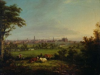 Leeds - Leeds from the Meadows by Joseph Rhodes, 1825.