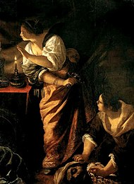Judith and her maid with the Head of Holofernes by Artemisia Gentileschi ca. 1645-1650.jpg