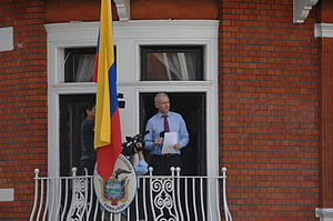 Embassy of Ecuador, London - Julian Assange at the Ecuadorian embassy in August 2012.