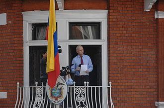 Embassy of Ecuador, London - Julian Assange at the Ecuadorian embassy in August 2012.