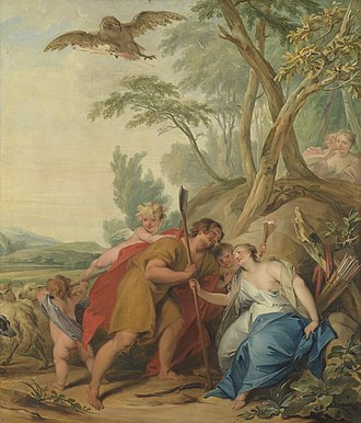 Mnemosyne - Jupiter, disguised as a shepherd, tempts Mnemosyne, goddess of memory by Jacob de Wit (1727)