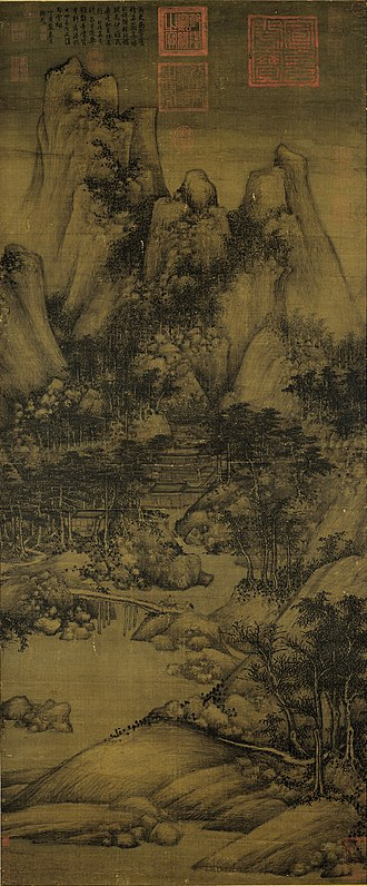 Lantingji Xu - Figure 1 Juran, Xiao Yi Getting the Orchid Pavilion Scroll by Deception, 10th century, ink and colour on silk, 144.1 × 59.6 cm.