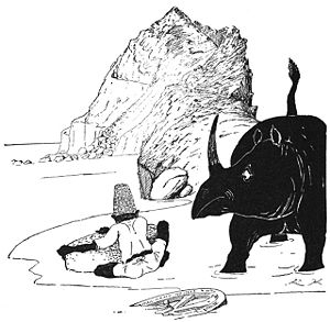 Just So Stories - How the Rhinoceros got his Skin, woodcut by Kipling