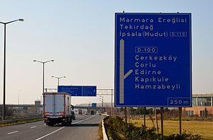 State road D.110 (Turkey) - East end of D-110:Kınalı junction in Silivri district of Istanbul Province
