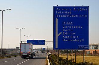 State road D.110 (Turkey) - East end of D-110:Kınalı junction in Silivri district of Istanbul Province